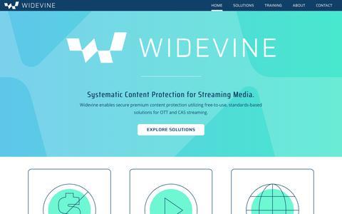 Screenshot of Home Page widevine.com - Widevine - captured Sept. 23, 2018