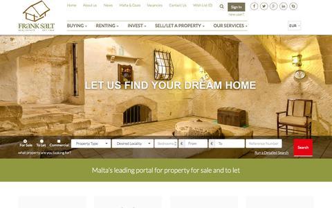 Screenshot of Home Page franksalt.com.mt - Malta Property for Sale and To Let - Frank Salt Real Estate - captured Sept. 18, 2015