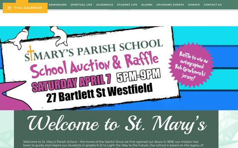 Screenshot of Home Page stmsaints.org - St. Mary's Parish School - captured March 9, 2018