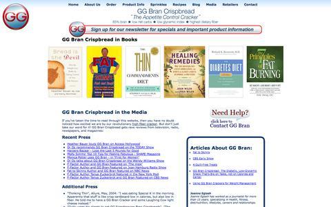 Screenshot of Press Page brancrispbread.com - GG Bran Crispbread - Articles and News Releases, Low Carb Food Lists, High Fiber Diet Guides - captured Oct. 1, 2014