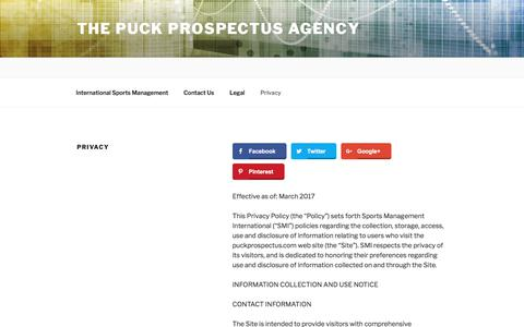 Screenshot of Privacy Page puckprospectus.com - Privacy | The Puck Prospectus Agency - captured Aug. 15, 2017
