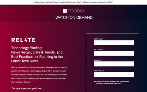 Screenshot of Landing Page appboy.com - IOS10 Technology Briefing Webinar   Appboy - captured Nov. 12, 2017
