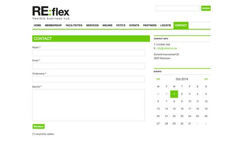 Screenshot of Contact Page reflexhub.be - Contact | RE:flex | flexible business hub - captured Oct. 1, 2014