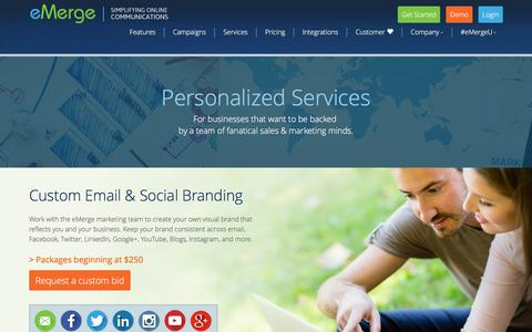 Screenshot of Services Page easyemerge.com - Personalized Services - captured Feb. 2, 2016