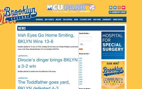 Screenshot of Press Page brooklyncyclones.com - brooklyncyclones.com: News - captured Aug. 4, 2018
