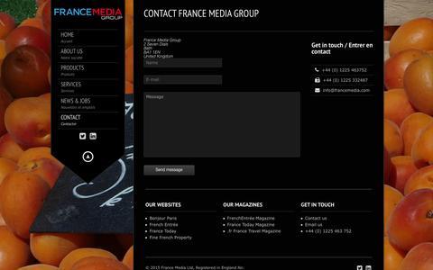 Screenshot of Contact Page francemedia.com - France Media Group |   Contact France Media Group - captured Feb. 10, 2016
