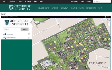 Screenshot of Maps & Directions Page mercyhurst.edu - Map | Mercyhurst University - captured Dec. 18, 2016