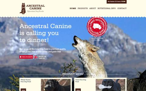 Screenshot of Home Page ancestralcanine.co.uk - Ancestral Canine - Wheat and Gluten Free Premium Dog Food - captured May 30, 2017