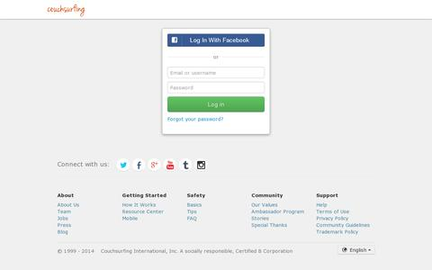 Screenshot of Login Page couchsurfing.org - Log in - Couchsurfing - captured July 20, 2014
