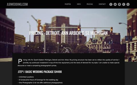 Screenshot of Pricing Page jlbwedding.com - Pricing – Detroit, Ann Arbor & SE Michigan « JLBwedding.com - captured Oct. 4, 2014