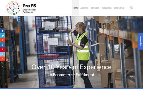 Screenshot of Home Page profulfilment.com - Fulfillment UK - ProFS - captured Nov. 12, 2016