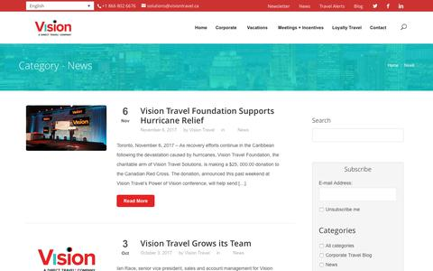 Screenshot of Press Page visiontravel.ca - News Archives - Vision Travel | Vision Voyages - captured Nov. 7, 2017