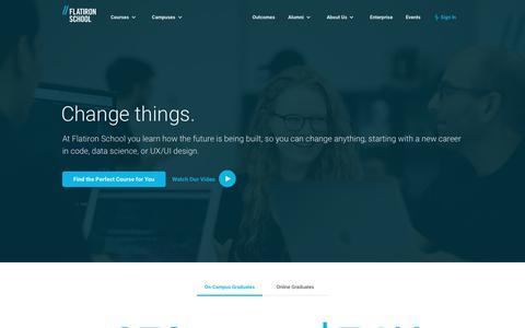 Screenshot of Home Page flatironschool.com - Learn Coding, Data Science, & UX/UI Design | Flatiron School - captured May 2, 2019