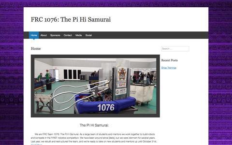 Screenshot of Home Page Team Page pihisamurai.org - FRC 1076: The Pi Hi Samurai - captured Sept. 29, 2014