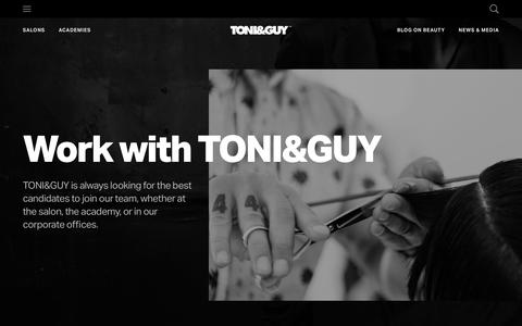 Screenshot of Jobs Page toniguy.com - TONI&GUY | Careers, work with leaders in the beauty industry! - captured June 17, 2019