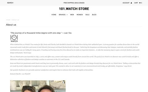 Screenshot of About Page 101.watch - About us                             101.Watch Store - captured July 9, 2018