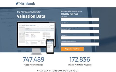 Screenshot of Landing Page pitchbook.com captured June 5, 2017