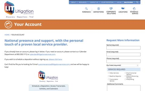 Screenshot of Login Page litigationservices.com - Your Account - Litigation Services - captured May 22, 2018