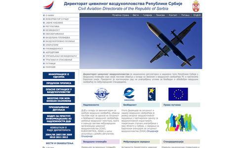 Screenshot of Home Page cad.gov.rs - Direktorat civilnog vazduhoplovstva Republike Srbije - captured Oct. 2, 2014