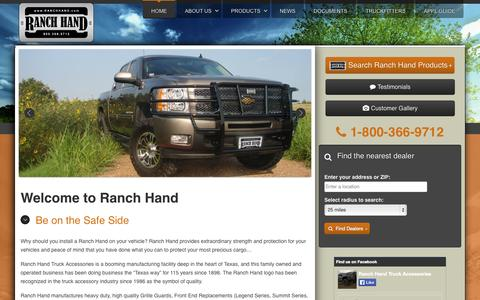 Screenshot of Home Page ranchhand.com - Ranch Hand | Be on the safe side - captured Sept. 24, 2014