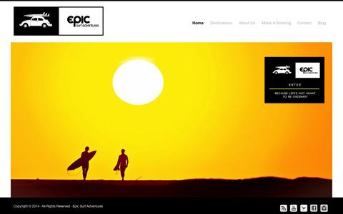 Screenshot of Home Page epicsurfadventures.com - Epic Surf Adventures - Learn to Surf, Live the DREAM!! - captured Sept. 30, 2014