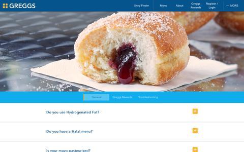 Screenshot of FAQ Page greggs.co.uk - Greggs | FAQ - captured July 19, 2016