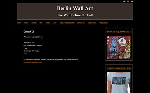 Screenshot of Contact Page berlinwallart.com - Berlin Wall Art - Contact Us - captured May 21, 2016