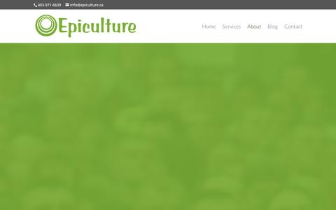 Screenshot of About Page epiculture.ca - About | Epiculture Marketing - captured Jan. 30, 2016