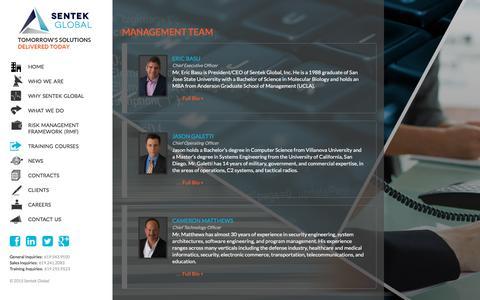 Screenshot of Team Page sentekglobal.com - Management Team - Sentek Global - captured Nov. 12, 2015