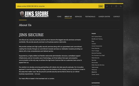 Screenshot of About Page jinsecure.com - Jins Secure |   About Us - captured Oct. 3, 2014