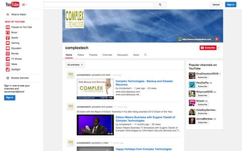 Screenshot of YouTube Page youtube.com - complextech  - YouTube - captured Oct. 22, 2014