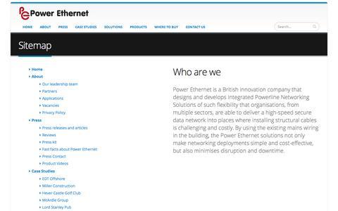 Screenshot of Site Map Page powerethernet.com - Sitemap | Power Ethernet - captured Sept. 30, 2014