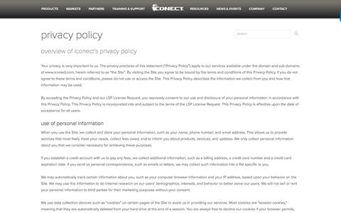 Screenshot of Privacy Page iconect.com - Privacy Policy - iCONECT Development, LLC - captured Oct. 15, 2017