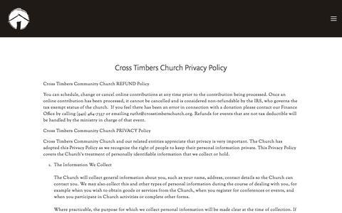 Screenshot of Terms Page crosstimberschurch.org - Legal — Cross Timbers Church - captured July 23, 2018