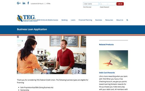 Screenshot of tegfcu.com - Business Loan Application – TEG Federal Credit Union - captured Dec. 2, 2017