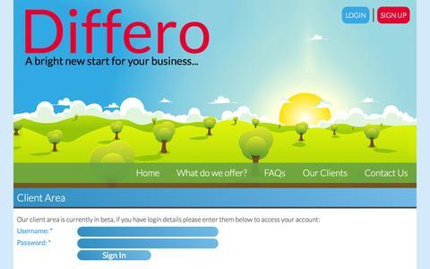 Screenshot of Login Page differo.co.uk - Client Area - Differo Web Design - captured Oct. 5, 2014