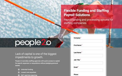 Screenshot of Landing Page people20.com - Funding and Payroll Solutions for Staffing Companies - People 2.0 - captured June 1, 2016