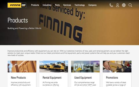 Screenshot of Products Page finning.com - Products | Finning Cat - captured Oct. 13, 2017