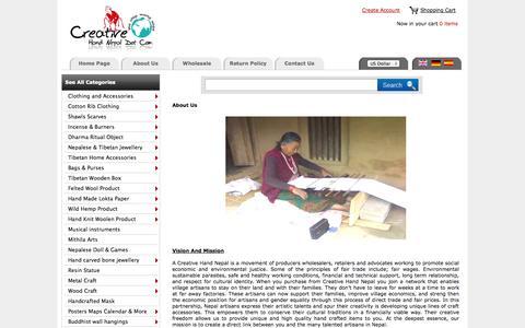 Screenshot of About Page creativehandnepal.com - Creative Hand Nepal :: Nepal Trade Fair  an Online Wholesale Handicraft Marketplace ! - captured Sept. 19, 2014