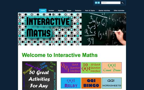 Screenshot of Home Page interactive-maths.com - Interactive Maths - The Interactive Way to Teach Mathematics - Home - captured Oct. 10, 2015