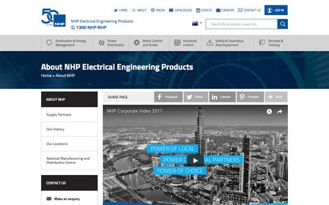 Screenshot of About Page nhp.com.au - NHP Electrical Engineering Products specialises in motor control, power distribution and automation systems. - captured May 27, 2018