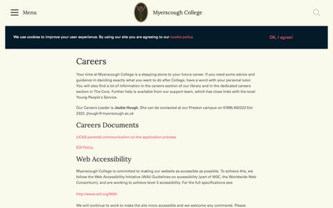 Screenshot of Jobs Page myerscough.ac.uk - Careers | Myerscough College - captured Nov. 17, 2018
