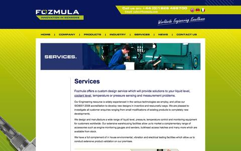 Screenshot of Services Page fozmula.com - Services | Fozmula - the liquid level specialists - captured Oct. 1, 2014