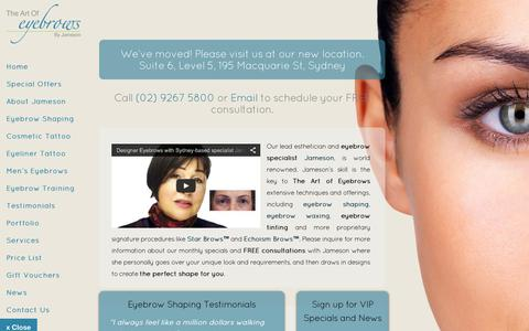 Screenshot of Home Page theartofeyebrows.com.au - The Art of Eyebrows | Eyebrow Shaping Sydney | Permanent Makeup Cosmetic Tattoo Artist - captured Sept. 19, 2015