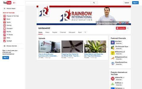 Screenshot of YouTube Page youtube.com - rainbowintl  - YouTube - captured Nov. 1, 2014