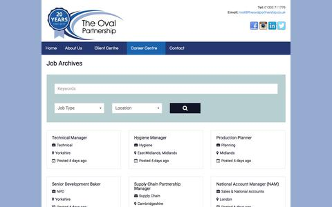 Screenshot of Jobs Page theovalpartnership.co.uk - Jobs | The Oval Partnership Limited - captured Sept. 21, 2018