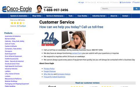 Screenshot of Support Page cisco-eagle.com - Cisco-Eagle Customer Care - captured June 21, 2019
