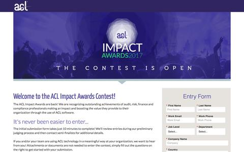 Screenshot of Landing Page acl.com - 2017 ACL Impact Awards - captured Jan. 23, 2017