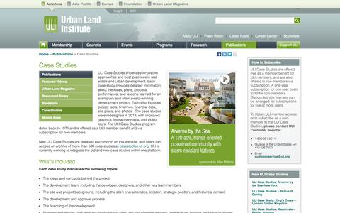 Screenshot of Case Studies Page uli.org - Case Studies | Urban Land Institute - captured Sept. 24, 2014