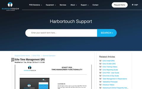 Screenshot of Support Page harbortouch.com - Echo Time Management QRG : Harbortouch Support Center - captured Oct. 9, 2018
